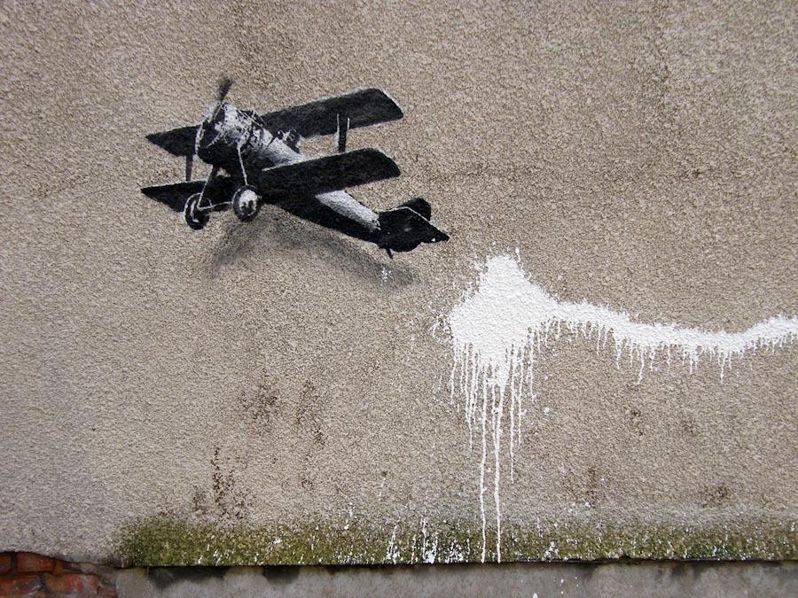 Banksy, Biplane Loveheart Detail, Liverpool