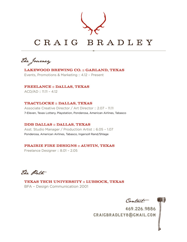 resume craig bradley art director